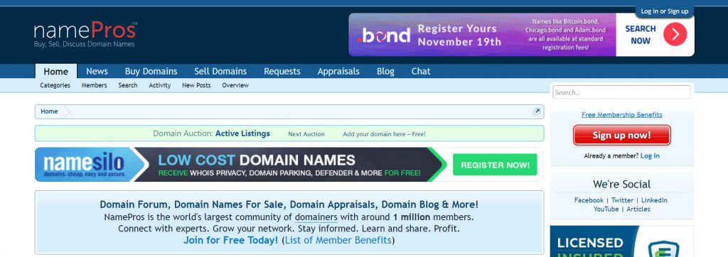 NamePros:国外著名域名社区论坛