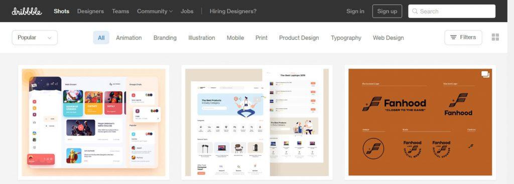 Dribbble:设计师交流学习平台