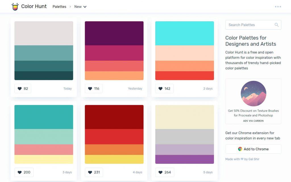 ColorHunt:颜色猎人在线设计配色工具