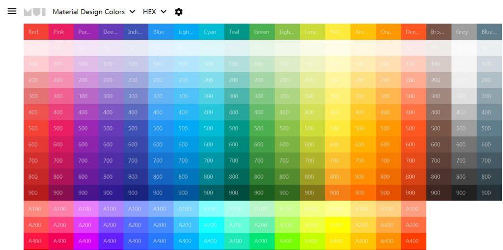 Material UI Colors:在线前端设计配色网站